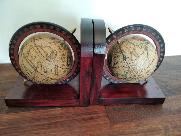 Wood Midcentury Bookends World Globe For Sale