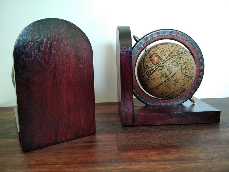 Midcentury Bookends World Globe For Sale 2