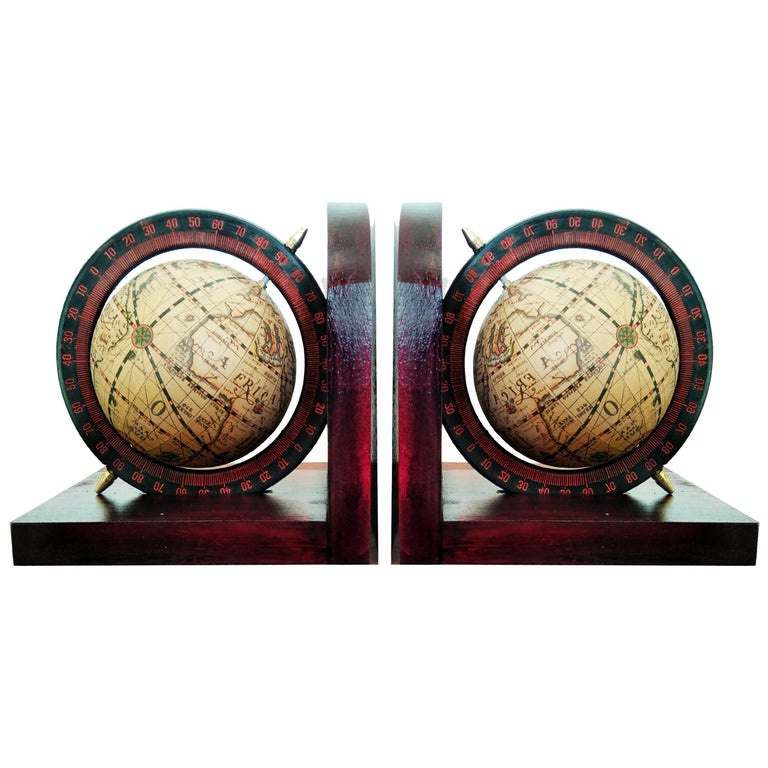 Midcentury Bookends World Globe For Sale