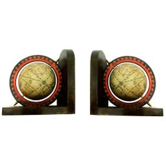 Midcentury Bookends World Globe