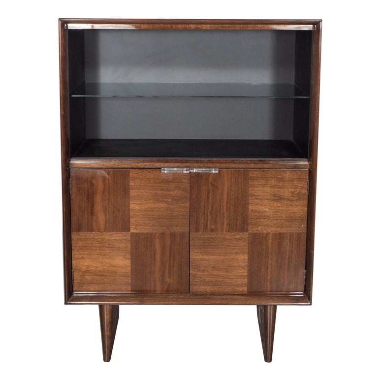 Midcentury Bookmatched Walnut Bar/Cabinet by Gilbert Rohde for Herman Miller For Sale