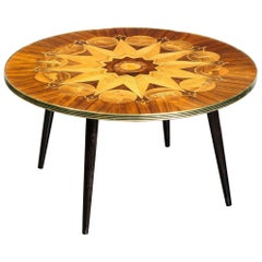 Midcentury Bookmatched Walnut & Elm Cocktail Table with Zodiac Themed Marquetry