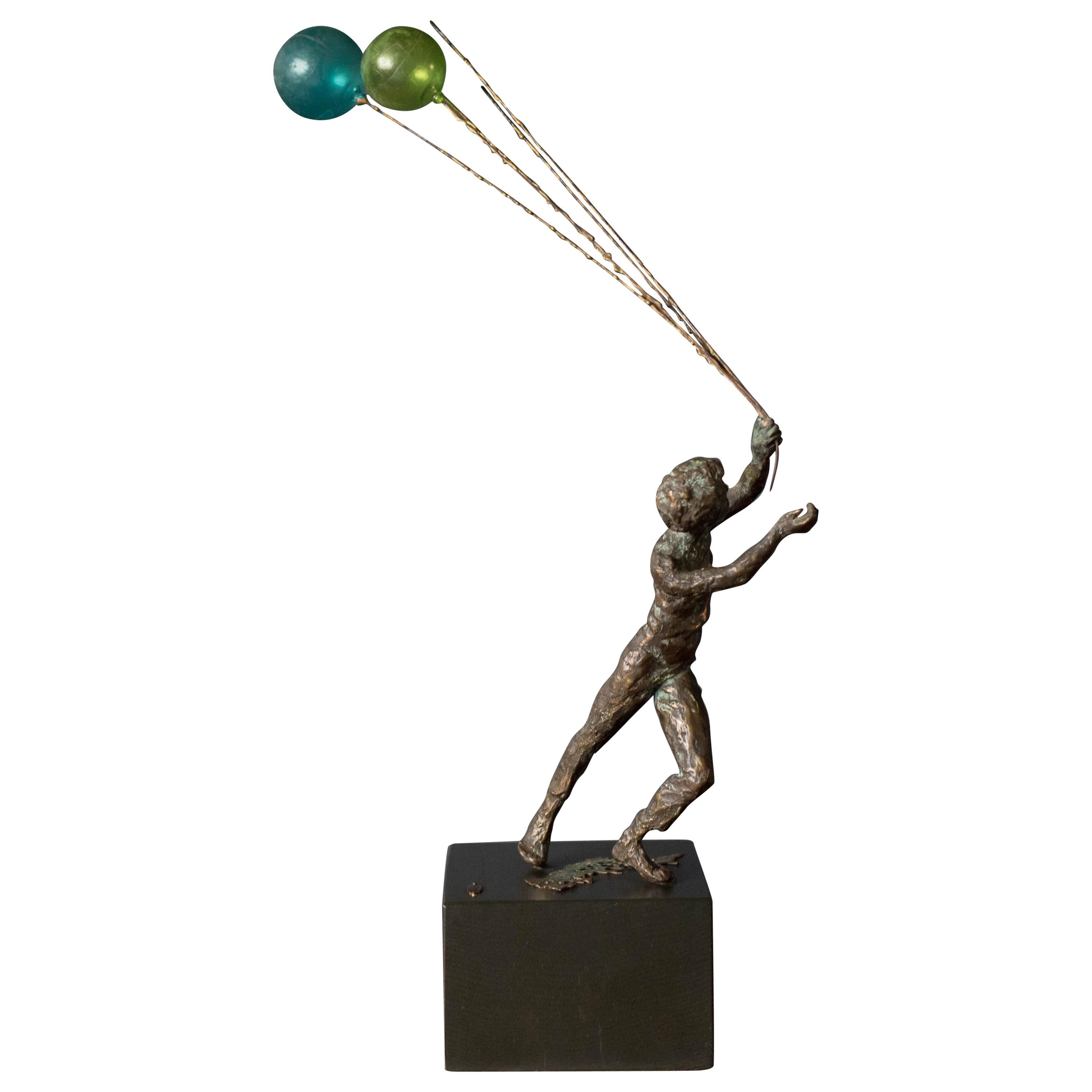 Mid Century Boy and Balloons Figurative Bronze Sculpture by Curtis Jere