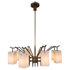 Mid-Century Brass 8-Light Chandelier attributed to Stilnovo, circa 1955