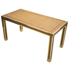 Mid Century Brass and Bamboo Dining Table Style of Gabriella Crespi, 1970s