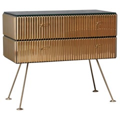 Midcentury Brass and Black Glass Commodes, 1980