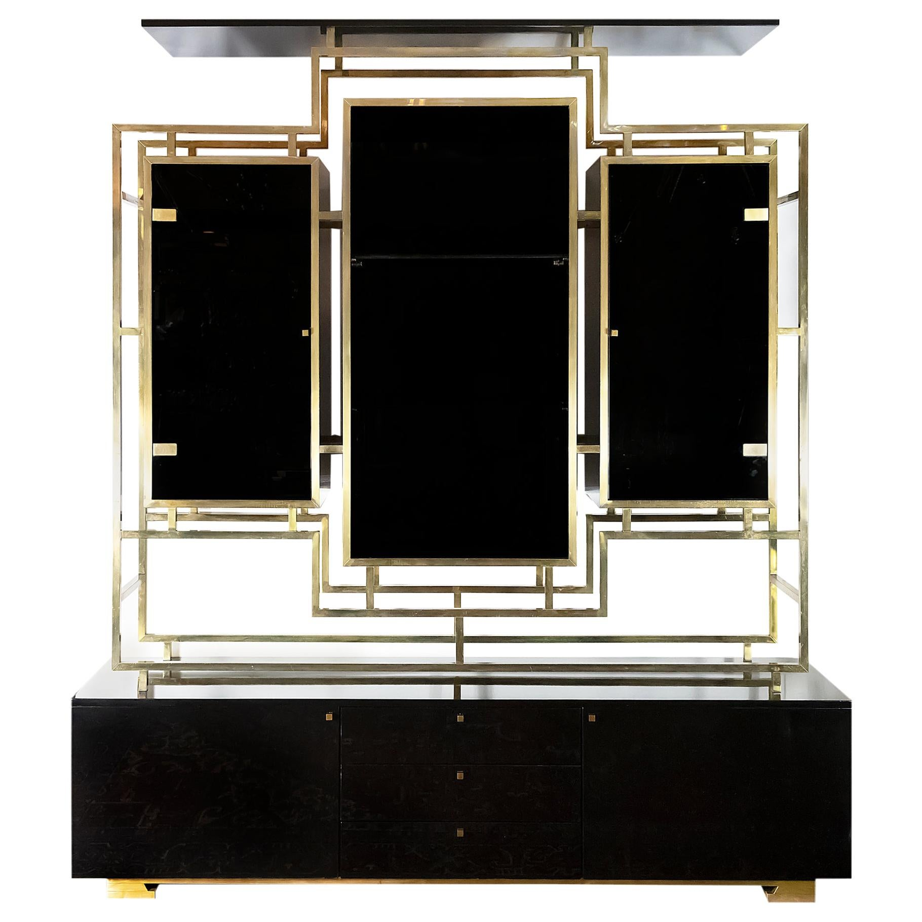 Midcentury Brass and Black Lacquered Wood Étagère/Sideboard by Kim Moltzer