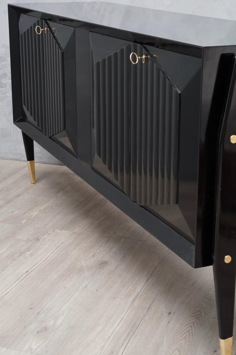 Mid-20th Century Midcentury Brass and Black Wood sideboard, 1950