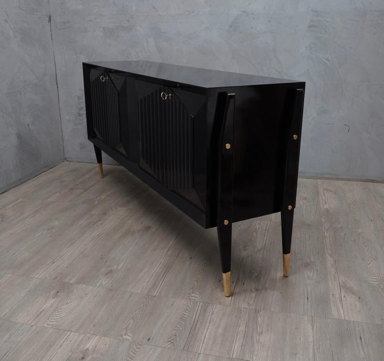 Midcentury Brass and Black Wood sideboard, 1950 1