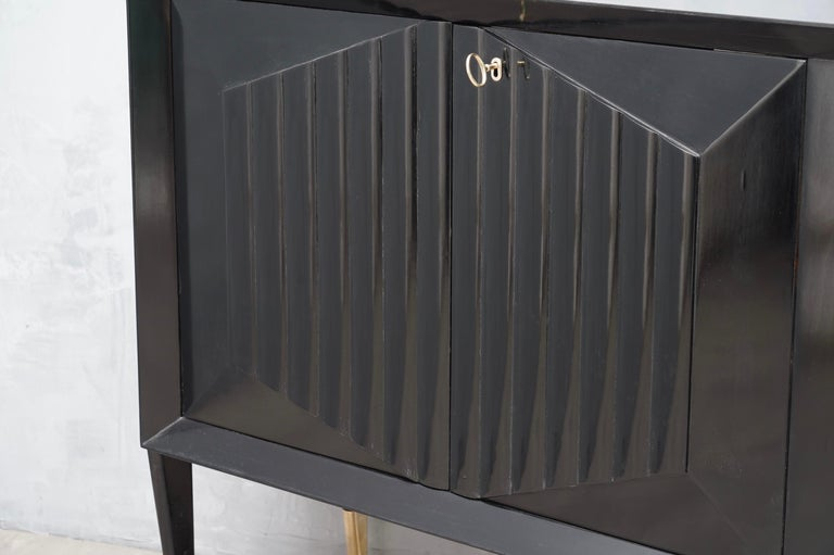 Midcentury Brass and Black Wood sideboard, 1950 2