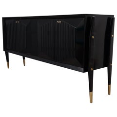Midcentury Brass and Black Wood sideboard, 1950