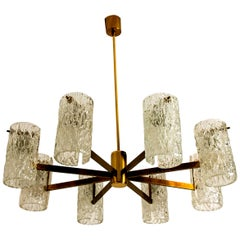 Midcentury Brass and Blown Glass Chandelier by Hillebrand, 1960s