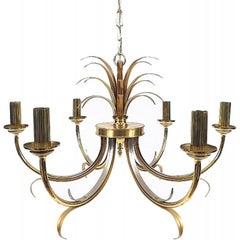 Midcentury Brass and Chrome Maison Jansen Pineapple Chandelier