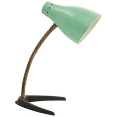 Midcentury Brass and Colored Shade Italian Table Lamp, 1950s