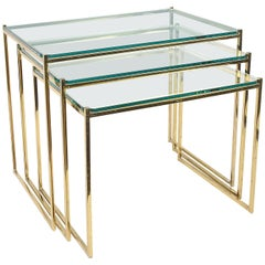 Midcentury Brass and Crystal Glass Italian Nesting Side Tables, 1970s
