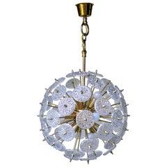 Midcentury Brass and Crystal Sputnik Chandelier by Val Saint Lambert, 1960s