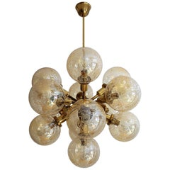 Midcentury Brass and Glass Sputnik Chandelier, 1970s