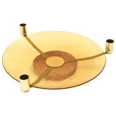 Midcentury Brass and Glass Centrepiece Candleholder Tray