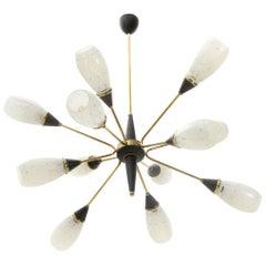 Midcentury brass and glass italian chandelier, 1950s