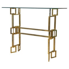MidCentury Brass and Glass Italian Console, 1980