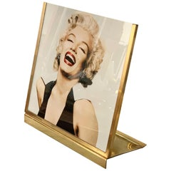 Midcentury Brass and Glass Italian Picture Frame, 1970s