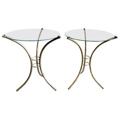 Midcentury Brass and Glass Side Tables