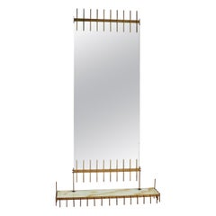 Midcentury Brass and Marbled Glass Mirror Console by Ettore Sottsass, Italy