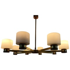 Midcentury Brass and Opaline Glass Chandelier by Kaiser, Germany, 1960s