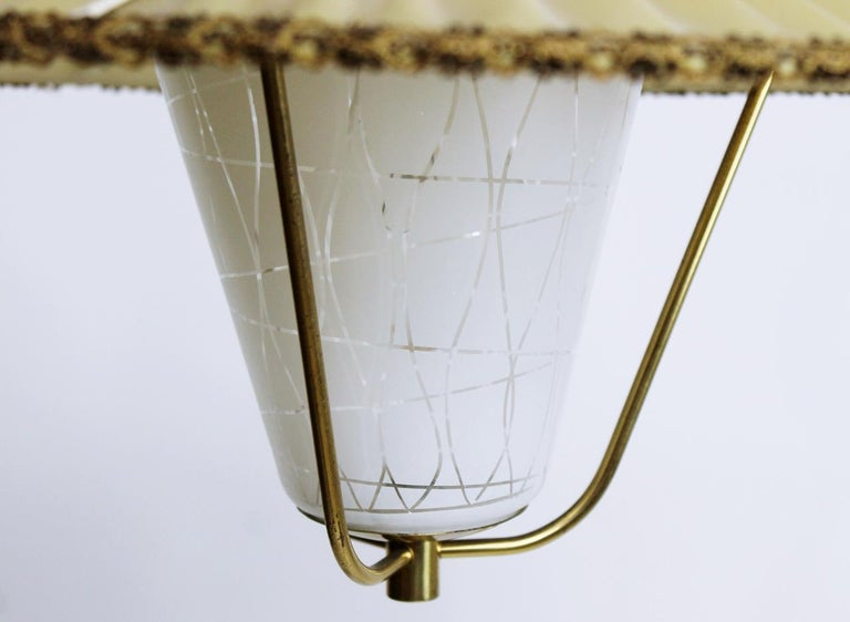 Mid-Century Modern Midcentury Brass and Opaline Glass Lantern Pendant Light, Austria, 1950s For Sale