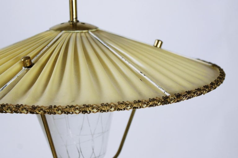 Austrian Midcentury Brass and Opaline Glass Lantern Pendant Light, Austria, 1950s For Sale