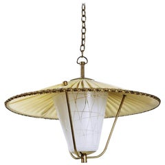 Midcentury Brass and Opaline Glass Lantern Pendant Light, Austria, 1950s