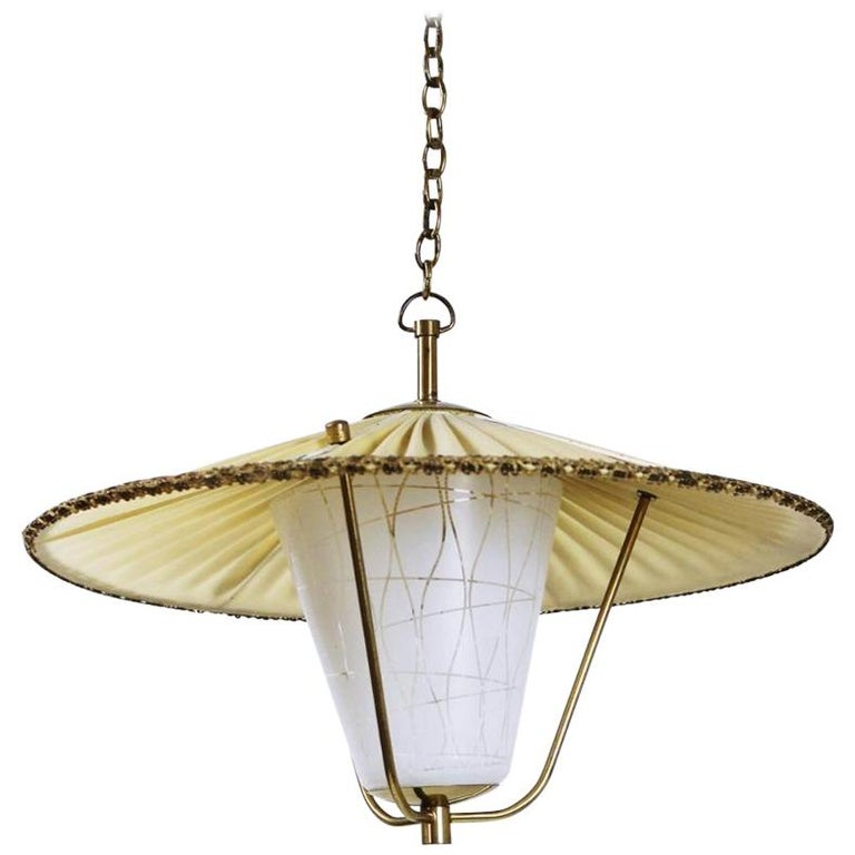 Midcentury Brass and Opaline Glass Lantern Pendant Light, Austria, 1950s For Sale