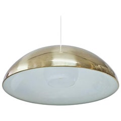 Midcentury Brass and Opaline Pendant Lamp by Bergboms, Sweden