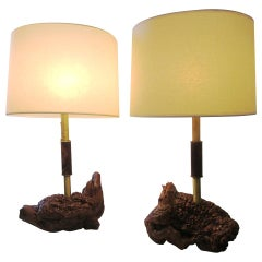 Midcentury Brass and Organic Burled Wood Lamps, Pair