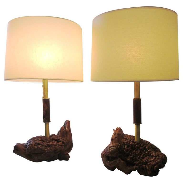 Midcentury Brass and Organic Burled Wood Lamps, Pair For Sale