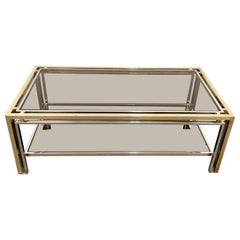 Midcentury Brass and Smoked Glass Italian Coffee Table after Romeo Rega, 1970