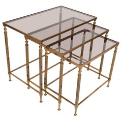 Midcentury Brass and Smoked Glass Nesting Tables by Maison Baguès, France