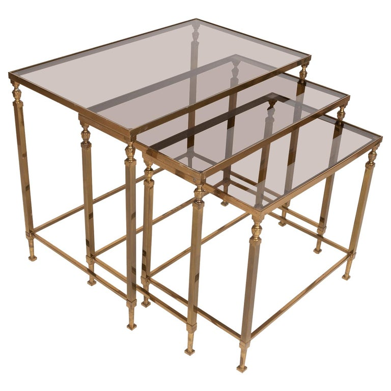 Midcentury Brass and Smoked Glass Nesting Tables by Maison Baguès, France For Sale