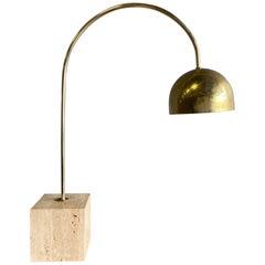 Midcentury Brass and Travertine Arc Table Lamp by Harvey Guzzini