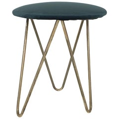 Midcentury Brass and Velvet Hairpin Stool, Europe, 1950s