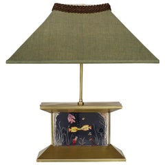 Midcentury Brass Aquarium Light Up Lamp