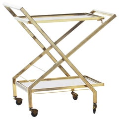 Midcentury Brass Bar Cart Attributed to Maison Jansen, France, 1960s
