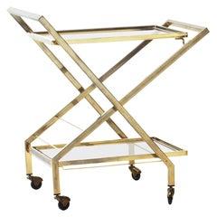 Midcentury Brass Bar Cart Attributed to Maison Jansen, France, 1960s