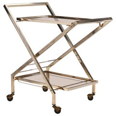 Midcentury Brass Bar Cart by Guy Lefevre Attributed for Maison Jansen, France
