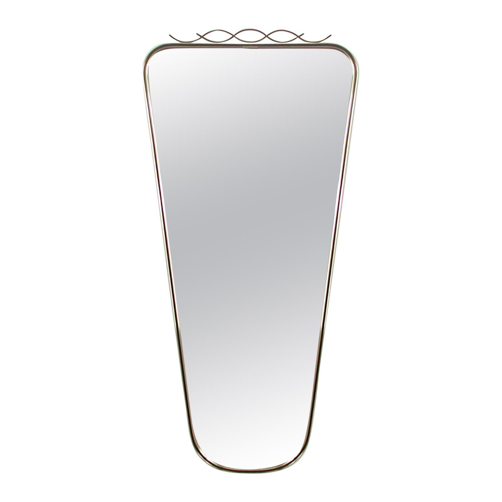 Midcentury Brass & Black Enamel Wall Mirror, 1950s