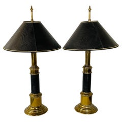 Midcentury Brass & Black Leather Table Lamp Attributed to Stiffel, a Pair