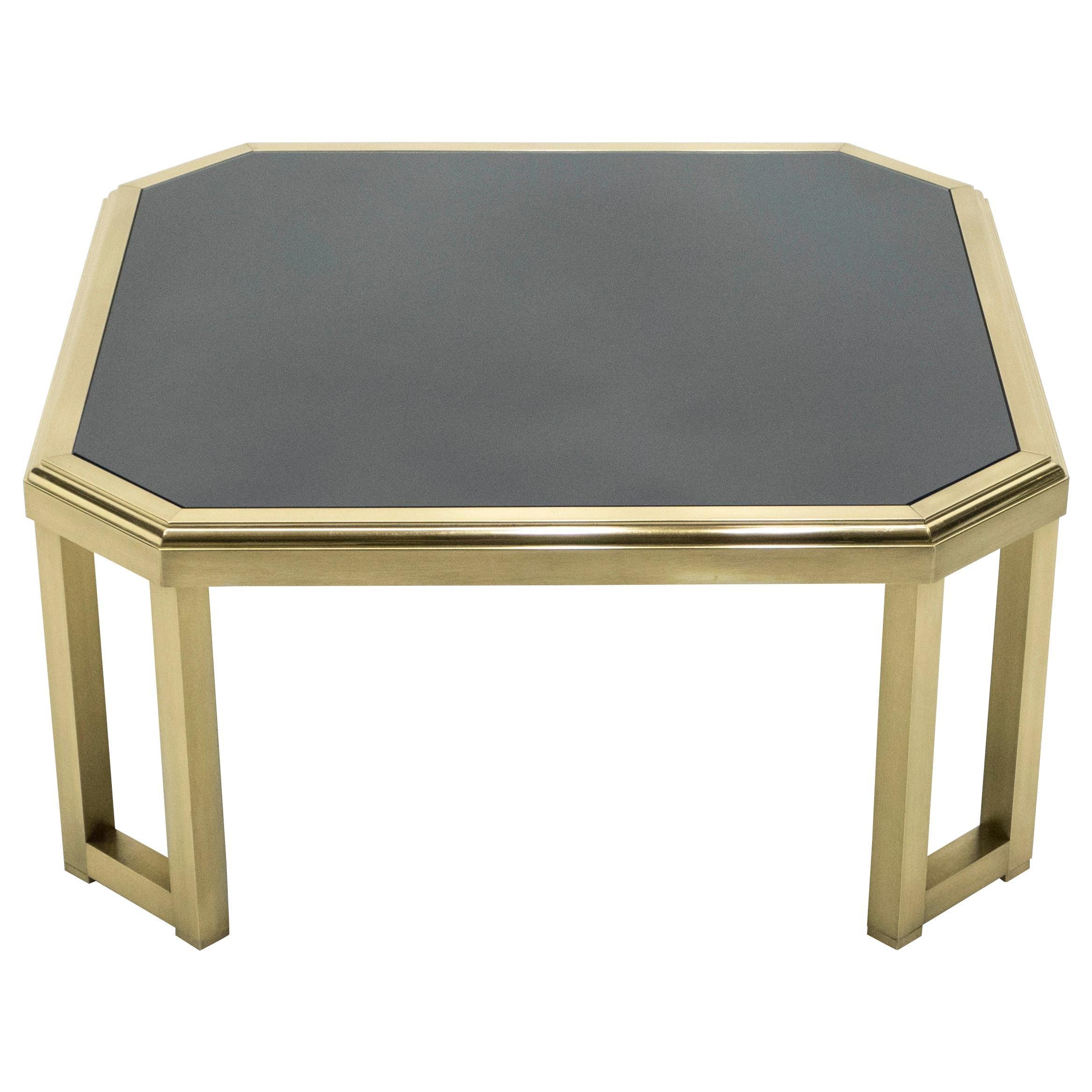Midcentury Brass Black Opaline End Table by Maison Jansen, 1970s