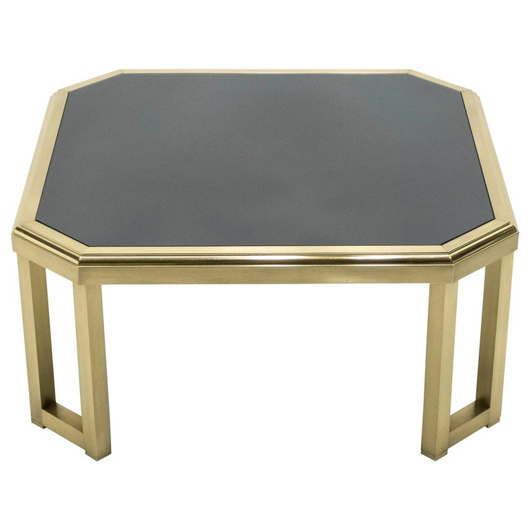 Midcentury Brass Black Opaline End Table by Maison Jansen, 1970s For Sale