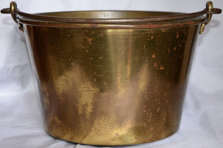 Country Brass Bucket with Handle from France Midcentury For Sale