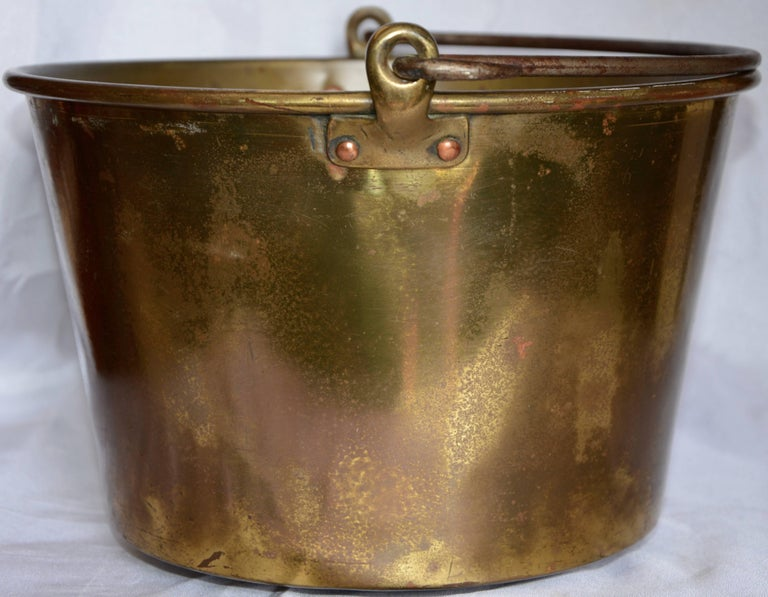 French Brass Bucket with Handle from France Midcentury For Sale